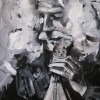 Black and white acrylic painting of Lyra player Ross Daly at the Labyrinth Workshop 60x50 cms  July 2010.
